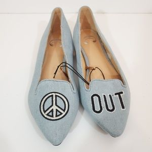 Charming Charlie Peace Out Denim Flats